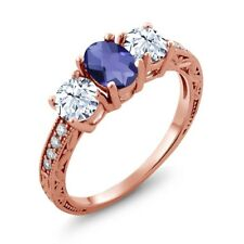 2.27 Ct Oval Checkerboard Blue Iolite 18K Rose Gold Ring