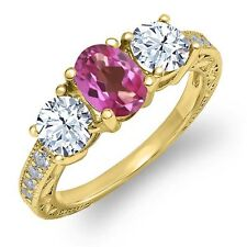 1.92 Ct Oval Pink Mystic Topaz White Topaz 18K Yellow Gold Ring