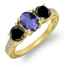 1.87 Ct Oval Checkerboard Blue Iolite Black Diamond 18K Yellow Gold Ring