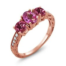1.92 Ct Oval Pink Mystic Topaz Pink Tourmaline 18K Rose Gold Plated Silver Ring