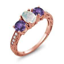 1.65 Ct Oval Cabochon White Opal Purple Amethyst 18K Rose Gold Ring
