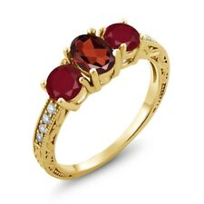 2.12 Ct Oval Red Garnet Red Ruby 18K Yellow Gold Plated Silver Ring