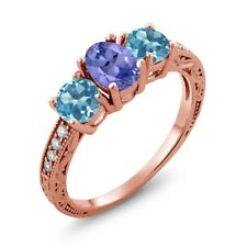 1.87 Ct Oval Blue Tanzanite Swiss Blue Topaz 18K Rose Gold Ring