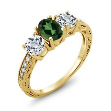 1.92 Ct Emerald Envy Mystic Topaz White Topaz 18K Yellow Gold Plated Silver Ring