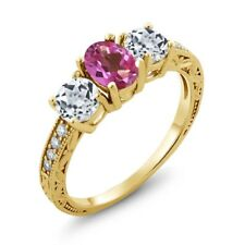 1.92 Ct Oval Pink Mystic Topaz White Topaz 14K Yellow Gold Ring