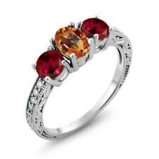 2.12 Ct Oval Ecstasy Mystic Topaz Red Created Ruby 14K White Gold Ring