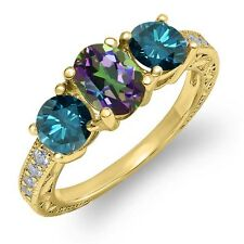 2.02 Ct Oval Green Mystic Topaz Blue Diamond 18K Yellow Gold Plated Silver Ring
