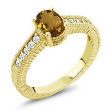 1.10 Ct Oval Whiskey Quartz White Topaz 14K Yellow Gold Engagement Ring