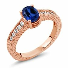 1.22 Ct Blue Simulated Sapphire White Sapphire 18K Rose Gold Plated Silver Ring