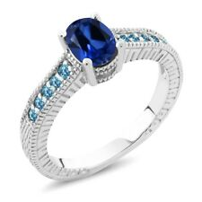 Oval Blue Simulated Sapphire Swiss Blue Simulated Topaz 925 Sterling Silver Ring