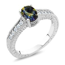 1.35 Ct Oval Blue Mystic Topaz White Created Sapphire 925 Sterling Silver Ring