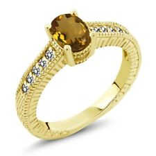 1.03 Ct Oval Whiskey Quartz White Diamond 18K Yellow Gold Plated Silver Ring