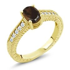 1.15 Ct Oval Brown Smoky Quartz White Created Sapphire 14K Yellow Gold Ring