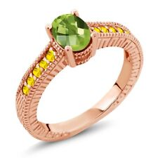 1.50 Ct Oval Checkerboard Green Peridot Yellow Sapphire 18K Rose Gold Ring