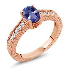 1.05 Ct Oval Blue Tanzanite 18K Rose Gold Engagement Ring