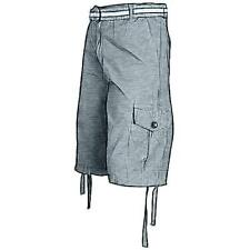 Southpole Belted Ripstop Cargo Casual Shorts - Men's (Charcoal)