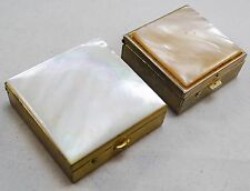 RARE MID CENTURY MODERN MOTHER OF PEARL COVER JEWELED COMPACT CASES VERY PRETTY