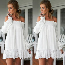 Women Long Sleeve Sexy Off Shoulder Evening Party Cocktail Casual Mini Dress S-L