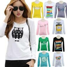 Fashion Casual Womens Round Neck Pullover T-Shirt Long Sleeve Tops Blouse Shirts