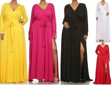 PLUS SURPLUS V-NECK SASH TIE BELT FAUX WRAP FRONT SLIT LONG SKIRT MAXI DRESS