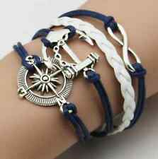 Hot DIY Bangle Infinity Love Anchor Leather Cute Charm Bracelet Plated Silver