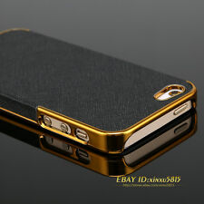 Luxury Metal Frame Leather Chrome Phone Case Hard Back Cover For iPhone4 4S 5 5S