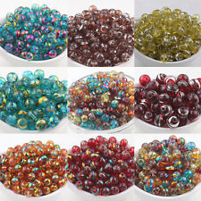 Hot Mixed Round Spun Silver&Golden Plated Glass Loose Spacers Charm Beads 6 8mm
