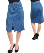 SeXY WoMeNS ViNTaGe sty DeNiM JeaNS BeLoW KNee HiGH WaiST PeNCiL FiTTeD SKiRT 9