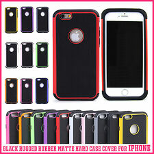 For Apple iPhone 6 4.7 6 Plus 5.5 Black Rugged Rubber Matte Hard Case Cover SE