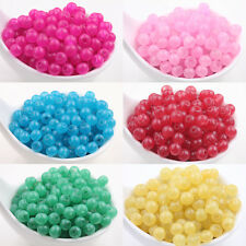Stylish 50/200Pcs Jelly Glass Round Loose Spacer Beads DIY Charms  Findings 6mm