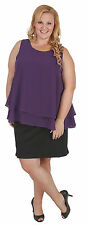 New Plus Size Purple & Black 2 Piece Dress Chiffon & Stretch