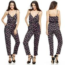 Sexy Women Floral Print Playsuit Strappy V Neck Jumpsuit Long Trousers Playsuits