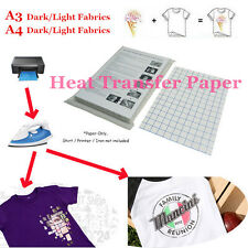 1x 3x Lot T-Shirt Laser Iron-On Heat Transfer Paper For Dark/Light Fabric A3 A4