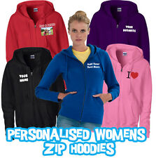 Personalised Womens Zipped Hoodie - Custom Printed Womens Zip Hoodie