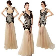 Black New V Neck Evening Party Gown Formal Prom Mermaid Long Tulle Beaded Dress