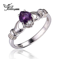Natural Amethyst Lrish Celtic Claddagh Ring Solid 925 Sterling Silver Love Heart