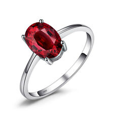 JewelryPalace 1.6ct Natural Garnet Solitaire Ring Solid 925 Sterling Silver Oval
