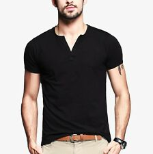 Hot! Mens Slim Fitted Short Sleeve V Neck Cotton Casual T-shirt Black White L XL