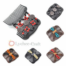 Easy Magic Wood Beads Double Hair Comb Clip Stretchy Women Hair Accessories New