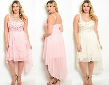 WOMENS LADIES PLUS SIZE CHIFFON HIGH LOW STRAPPY PLUNGE PARTY DRESS 16 18 20 22