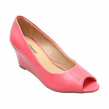 Yab Round Toe Med Heel Wedge Pumps in Coral @ YAB SHOP