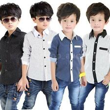 Baby Boy Kid Long Sleeve Polka Dot T-Shirt Tops Boy Lapel Shirt Tops Blouse 4-8Y