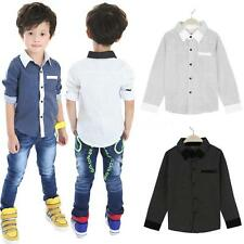 Polka Dot Long Sleeve Boy Kids Children Tops Blouse Lapel Shirt T-shirts 4-8Y