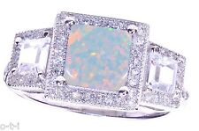White Gold Princess Cut Large Promise w/ Baguette CZ White Fire Opal Ring