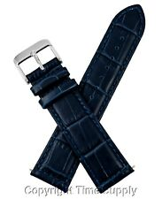 20mm NAVY BLUE LEATHER WATCH BAND CROCO WITH SPRING BARS