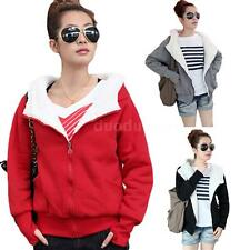 Warm Fleece Womens Long Sleeve Winter Coat Hooded Jacket Sweater Parka Outwear