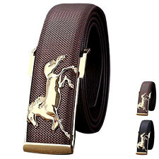 New Men's Belt Gold Horse Leather Strap Business Casual Metal Buckles Waistband