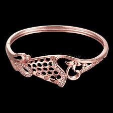18K Gold Plated Opening Bangle Bracelet Elegant Crystal CZ Nets Beautiful Gift