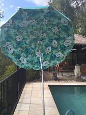VINTAGE BEACH UMBRELLA OUTDOOR VINYL FABRIC TASSELS RETRO SUN SHADE PARTY FLORAL