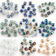 50Pcs Cube Austria Crystal Beads Loose Jewelry Findings Charm Bead 5x5x5mm DIY